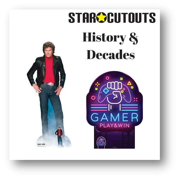 STAR CUTOUTS RECOMMENDED HISTORY AND DECADES LIFESIZE CARDBOARD CUTOUTS PARTY SUPPLIES